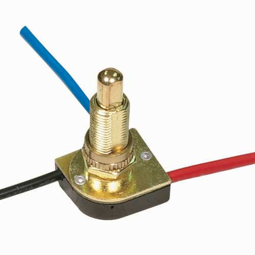 "Push Switch, 3Way - Brass 5/8"" Metal Bushing, 2 Circuit, 4 Position"