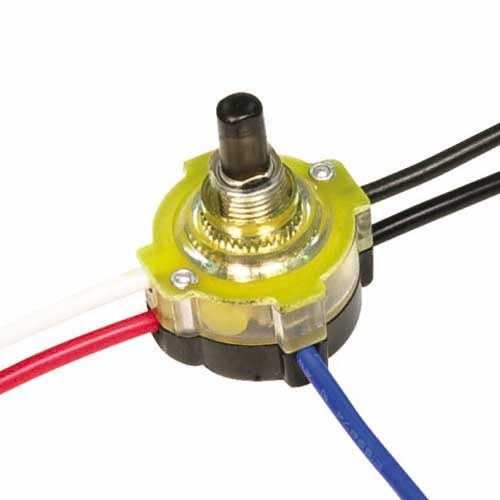 Push Switch, Lighted 3Way - Brass 3/8