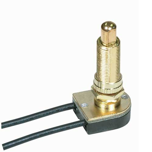 Push Switch, On/Off Brass 1 1/8