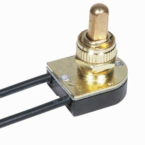 Push Switch, On/Off Brass 3/8
