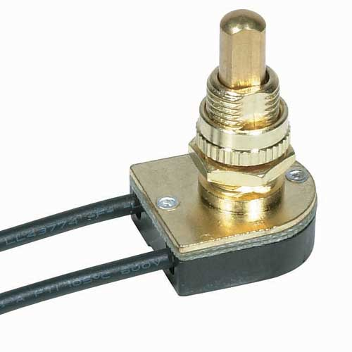 Push Switch, On/Off Brass 5/8