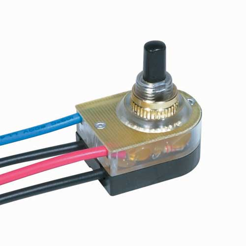 Push Switch, Lighted On/Off - Brass 3/8