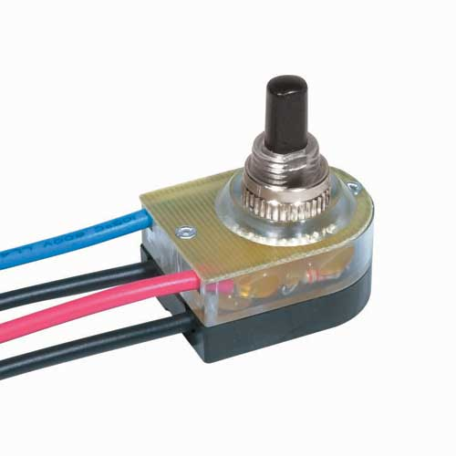 Push Switch, Lighted On/Off - Nickel 3/8