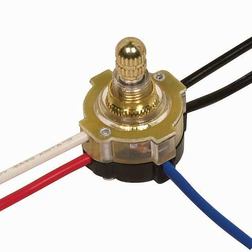 Rotary Switch, Lighted 3Way - Brass 3/8