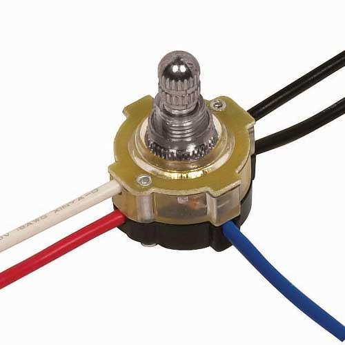 Rotary Switch, Lighted 3Way - Nickel 3/8