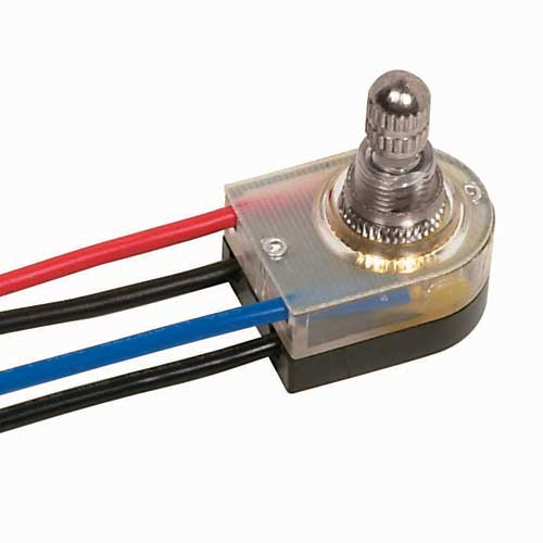 Rotary Switch, Lighted On/Off - Nickel 3/8