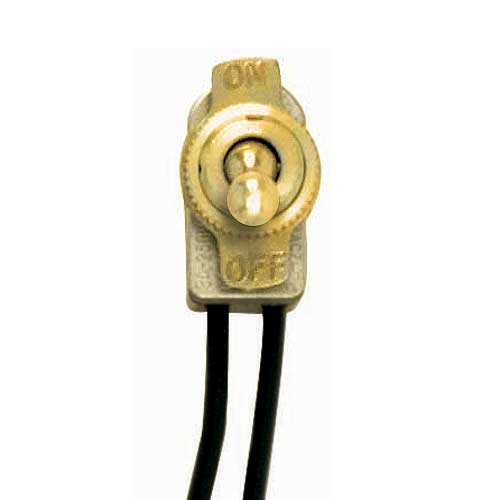 Toggle Switch On/Off - Brass Finish  3/8